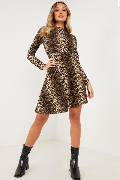 Brown Animal Print Skater Dress